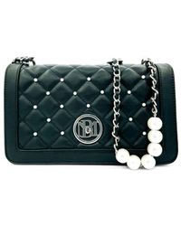 Badgley Mischka Quilted Faux Leather & Faux Pearl Crossbody Bag - Black