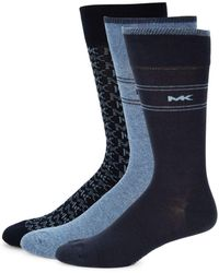 Michael Kors 3-piece Logo Printed Sock Set - Blue