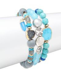 Alanna Bess - Set Of Three Lapis, Labradorite & Sterling Silver Beaded Bracelets - Lyst