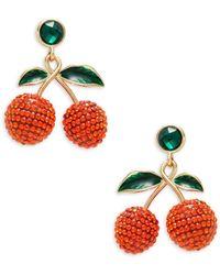 DANNIJO Women's Goldplated & Glass Crystal Cherry Drop Earrings - Red