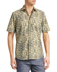 Saks Fifth Avenue Collection Leaf-print Cotton Shirt - Green