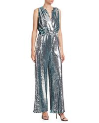 Carolina Ritzler Sleeveless Sequin Jumpsuit - Metallic