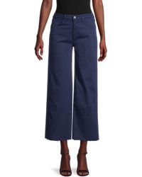 L'Agence - Women's Danica Twill Wide-leg Pants - Navy - Size 24 (0) - Lyst