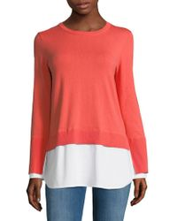 Vince Camuto - Long-sleeve Mix Media Cotton Jumper - Lyst