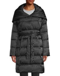 Tahari Hooded Puffer Coat - Black