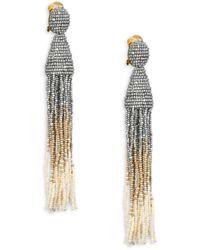 Oscar de la Renta Long Ombre Beaded Drop Earrings - Pink