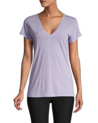 Vince Women's Short-sleeve V-neck T-shirt - Freesia - Size L - Purple