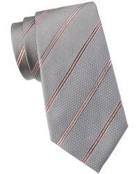 Armani Men's Striped Silk Tie - Grey