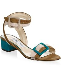 aa67316760df Tom Ford Patchwork Metallic Leather and Velvet Sandals in Blue - Lyst