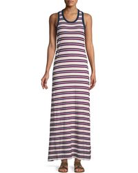 James Perse Striped Cotton Tank Dress - Red