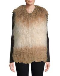 Adrienne Landau Mongolian Lamb Fur Vest - Natural