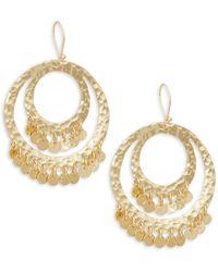 Panacea Goldtone Disc Hoop Drop Earrings - Multicolour