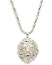 Saks Fifth Avenue Sterling Silver Lion Face Pendant Necklace - Metallic