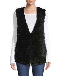 Adrienne Landau Quilted Rabbit Fur Vest - Green