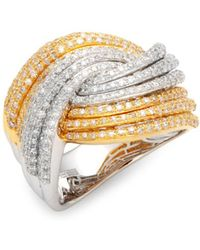 Effy - Diamond, 14k White Gold & 14k Yellow Gold Crossover Ring - Lyst