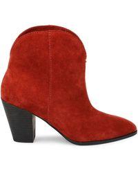 Splendid Paisley Suede Booties - Red