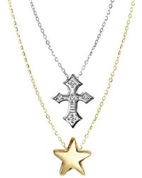 Alex Woo - 14k Yellow Gold And Sterling Silver Double Pendant Diamond Necklace - Lyst
