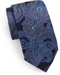 Samuelsohn Large Paisley Silk Tie - Blue