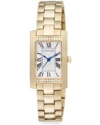 Saks Fifth Avenue Goldtone Stainless Steel Pavé Crystal Bezel Rectangular Watch - Metallic