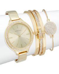 Adrienne Vittadini - Glitz Goldtone Bracelet Watch - Lyst