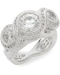 Adriana Orsini - Woven Tri-stone Ring/silvertone - Lyst