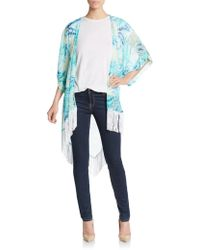 Saks Fifth Avenue Black Label - Fringed Tropical-print Kimono - Lyst
