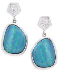 Ron Hami - Australian Opal, Diamond & 18k White Gold Drop Earrings - Lyst