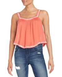 19 Cooper - Embroidered Crop Top - Lyst