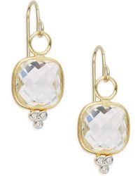 Jude Frances - Diamond, White Topaz & 18k Yellow Gold Square Drop Earrings - Lyst
