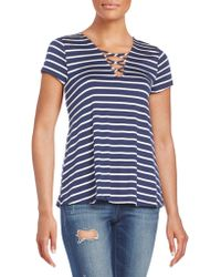 West Kei Striped Lace-up T-shirt - Blue