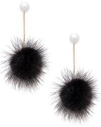 Cara - Faux Pearl Fur Pom-pom Drop Earrings - Lyst