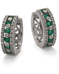Effy - Gemma Emerald, Diamond & 14k White Gold Hoop Earrings - Lyst