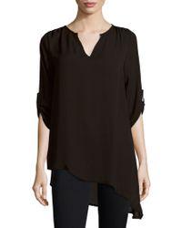 West Kei Three-quarter Sleeve Asymmetric Top - Black