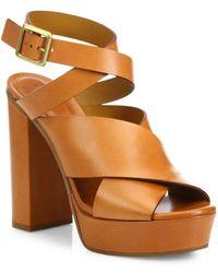 Chloé Crisscross Leather Platform Sandals - Natural