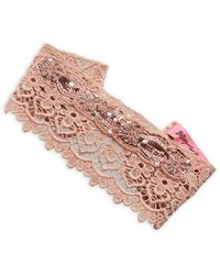 Betsey Johnson - Sequined Cotton Head Band - Lyst