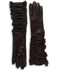 Alexander McQueen - Ruched Leather Gloves - Lyst