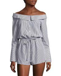 Saks Fifth Avenue - Striped Buttoned Romper - Lyst