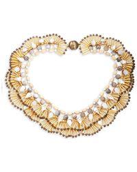 Tataborello - Fan Crystal & Beaded Necklace - Lyst