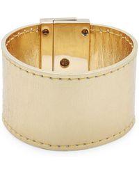 CC SKYE Leather Turn-lock Bracelet - Metallic