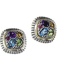 Effy - Semi-precious, Multi-stone Sterling Silver And 18k Yellow Gold Stud Earrings - Lyst