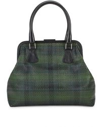 RED Valentino Plaid Leather Top Handle Bag - Black