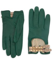 RED Valentino - Studded Buckled Leather Gloves - Lyst