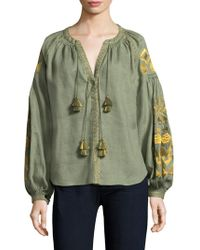 March 11 - Embroidered Linen Blouse - Lyst