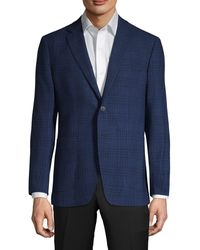 Saks Fifth Avenue Check Wool & Flax Sport Coat - Blue