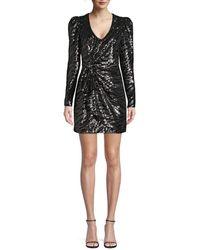Parker Women's Virginia Sequin Faux Wrap Dress - Gunmetal - Size 2 - Black