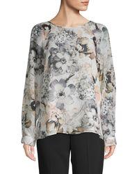 Calvin Klein Floral Raglan-sleeve Blouse - Multicolour