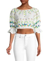 All Things Mochi Women's Embroidered Linen & Cotton Crop Top - Off White - Size L