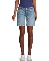 Vigoss Embroidered Denim Shorts - Blue