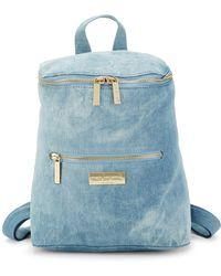 Peace Love World Top Zip Denim Backpack - Blue
