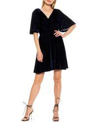 Alexia Admor Oakless Velvet Fit-&-flare Dress - Blue